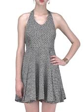 Monochrome Printed Halter Neck Dress - By