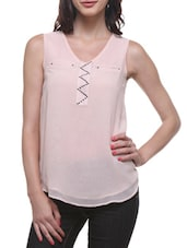 Light Pink Poly Georgette Sleeveless Top - By