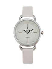 WHITE LEATHER STRAP ROUND ANALOG WATCH -  online shopping for Analog watches