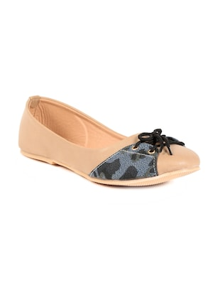 Beige Synthetic Leather Ballerinas