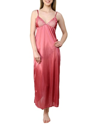 red satin gown set - 12909843 - Standard Image - 2