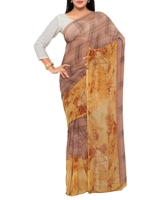 brown georgette printed saree with blouse