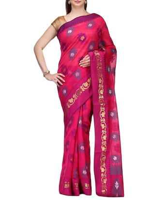 pink color woven saree