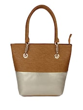 Tan And Dusty Gold Leatherette Handbag - By