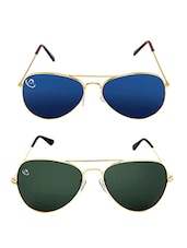 Aventus Combo Golden & Blue mirrored Aviator Sunglasses -  online shopping for Sunglasses
