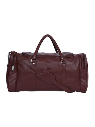 brown leatherette luggage