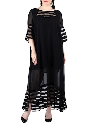 black poly georgette maxi dress
