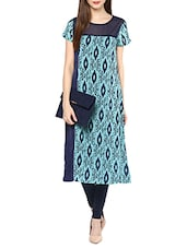 Turquoise Georgette Straight Kurta - By
