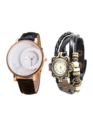 Combo of 2 Black Strap Analogue Wrist Watches set of 2