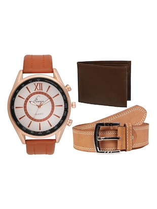 Jack Klein Combo of Round Dial Brown Strap , Stylish Analog Wrist Watch With Brown Belt And Brown Wallet