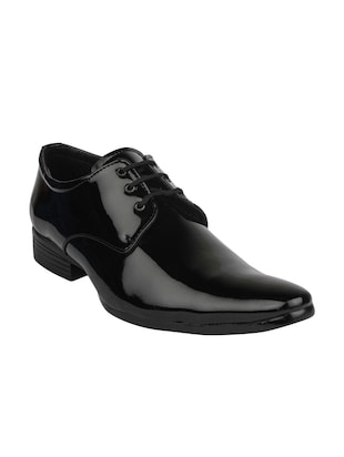 black leatherette lace up derby
