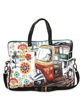 Multicolored Printed Leatherette Laptop Bag - By