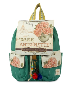 Bottle Green Printed Cotton Canvas Backpack