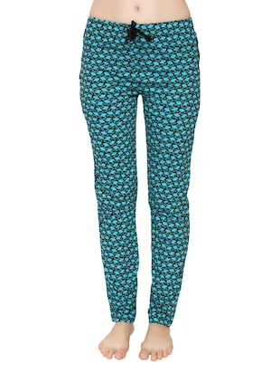 light blue printed cotton track pant