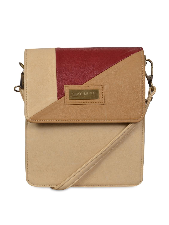 Beige Leatherette Sling Bag - By