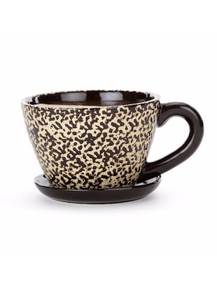 Buy Brown Ceramic Cup N Saucer Planter By Unravel India Online