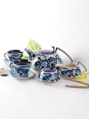 Blue Ceramic Moroccan Hand painted Tea Set