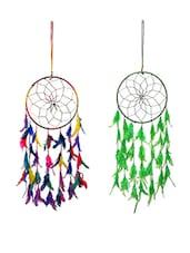 FashBlush Mystical Feathers Dream Catchers Wool Windchime(set Of 2) - By