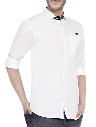 white cotton casual shirt - 12929075 - Standard Image - 2