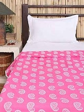 Pink & White Cotton Block Printed Comforter - By