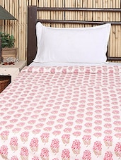 Pink & White Cotton Block Printed Comforter - By - 1292915