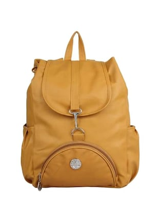 yellow leather regular backpack