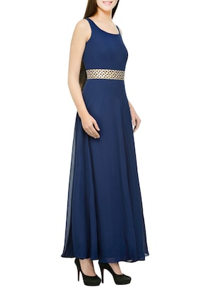 blue georgette stitched gown - 12933526 - Standard Image - 2