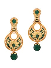 Green Copper Studded Drop Earrings - By