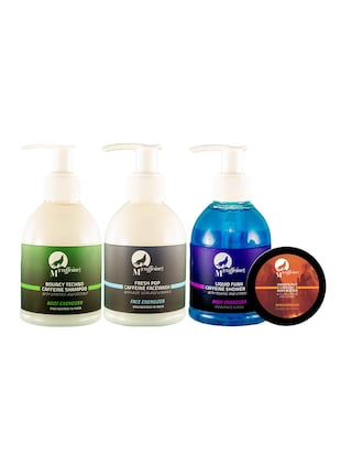 MCaffeine Head-to-toe Charger Pack - Shower Gel (150ml) + Shampoo (150ml) + Body Butter (50ml) + Face Wash (150ml)