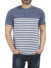 blue cotton striped t-shirt -  online shopping for T-Shirts
