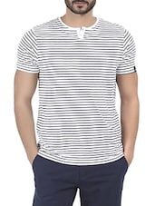 white cotton stiriped t-shirt -  online shopping for T-Shirts