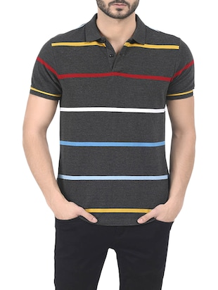 charcoal grey cotton striped t-shirt -  online shopping for T-Shirts
