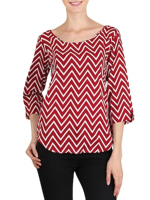 red chevron printed poly crepe regular top