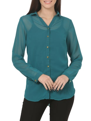 green georgette regular shirt