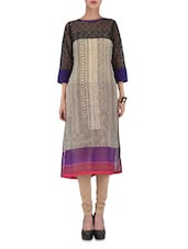 Beige Printed Poly Georgette Lace Work Kurta - By