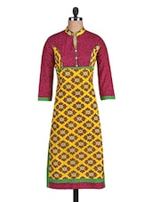 Yellow And Pink Printed Cotton Kurti - By