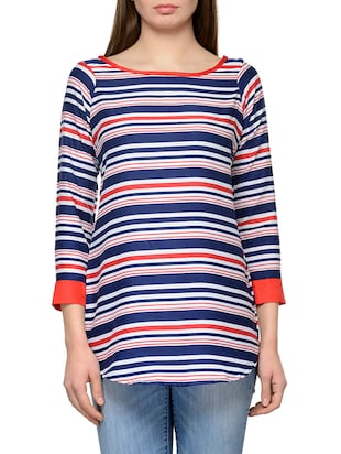multicolored striped poly crepe straight top