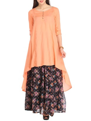 Solid orange high low tunic