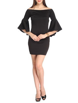 Solid black dress with flared sleeves