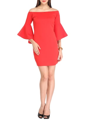 Solid red dress with flared sleeves