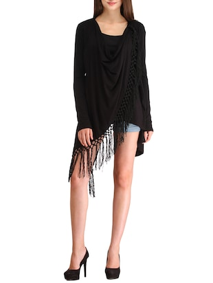 Solid black fringed top