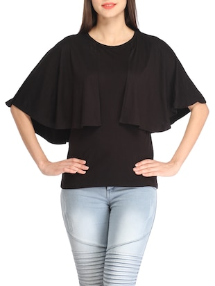 Solid black layered top