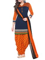 blue patiyala unstitched suit -  online shopping for Dress Material