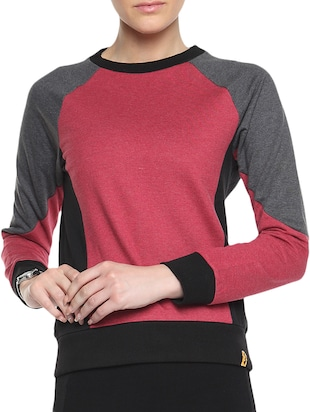 Red Cotton Solid Long Sleeves Sweatshirt