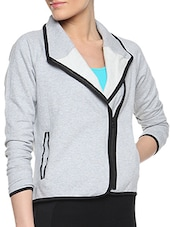 Grey Cotton Solid Long Sleeves Plush Wrap Jacket - By