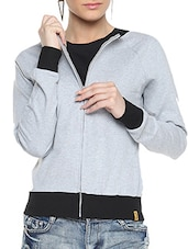 Grey Cotton Solid Long Sleeves Zipper Jacket - By
