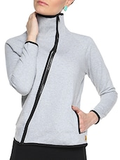 Grey Cotton Solid Long Sleeves Piped Jacket - By