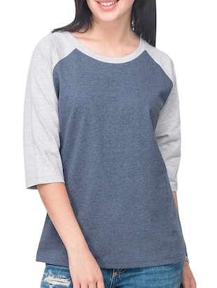 Blue, Grey Cotton Solid Three Quarter Sleeves Mélange Top