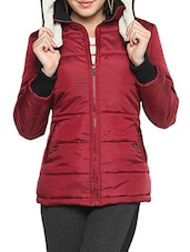 Red Nylon Solid Long Sleeves Jacket - By
