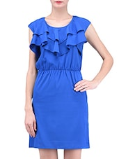 Blue Plain Gathers Poly Crepe Dress - By